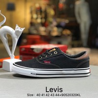 Levis Men's cowboy canvas shoes Black White
