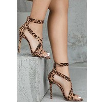 Women Leopard Open Toe High Heel Sandals