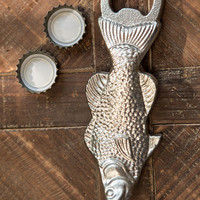 Heavy Duty Metal Fish Bottle Opener - SIlver Finish