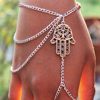 Exotic Tassel Chain Mittens Bracelet Silver Color Women Girls Multilayer Wrist Chain With A Hand Jewelry = 1695434820
