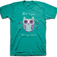 Adult God Is Good Owl The Time Christian Tee Shirt Kerusso