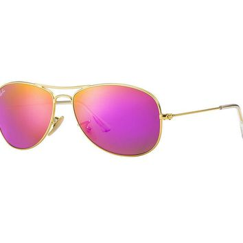 Cheap Ray Ban Cockpit Sunglasses Matte Gold Frame/Pink Cyclamen Mirror Lens outlet