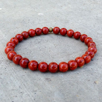 Grounding, First Chakra, Genuine Red Jasper Gemstone Mala Bracelet