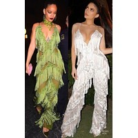 Green Amazing Rihanna or Kylie Fashion Fringe Jumpsuit RK121