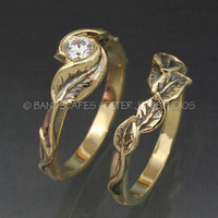 MOISSANITE WEDDING RINGS -14k Yellow , Rose Gold or White Gold - Delicate Leaf Engagement ring with matching Wedding Band.