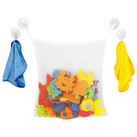 Evelots Bath Toy Organizer + 2 Bonus Strong Hooked Suction Cups, Tub Storage