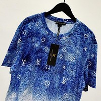 LV Summer New Fashion Monogram Print Women Men Top T-Shirt Blue