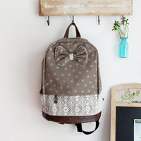 Grey with Pink Polka Dots Backpack