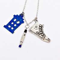 10th Doctor Necklace Inspired by Doctor Who: TARDIS, blue sonic screwdriver and Converse Chuck Taylor All Star sneakers charms