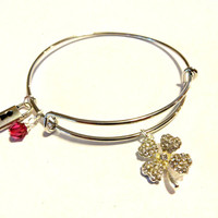 Lucky 4 Leaf Clover Bangle Bracelet, Rhinestone Clover Charm Bracelet With Fuchsia Swarovski Crystal Element, Trendy Jewelry, Gift for Her