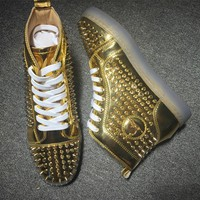 Christian Louboutin CL Louis Spikes Style #1840 Sneakers Fashion Shoes Best Deal Online