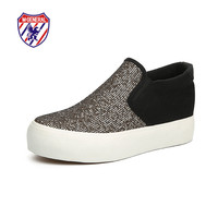 M.GENERAL New 2016 Women Fashion Canvas Casual Sequined Cloth Shoes Spring Autumn Mixed Colors Slip-On Sparkling Shoe M6962