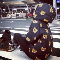 """""""Moschino"""" Women Casual Cute Cartoon Bear Print Loose Long Sleeve Hooded Cotton-padded Clothes Tops"""