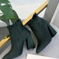 Pointed Toe Ruffles Chunky Heel Boots
