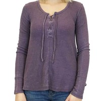 White Crow Untamed Lace-Up Vintage Violet Thermal Top