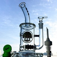 Glass Dab Rig With Black Hive Line Perc  11.5'' Glass Water Pipes Percolator With Quartz Banger