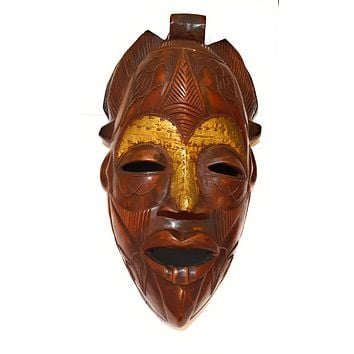 """🎁 ONE DAY SALE 16"""" Large African Wood Mask in Brown"""