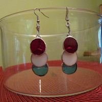 Independence Day, Red, White and Blue, Round Stained Glass Earrings
