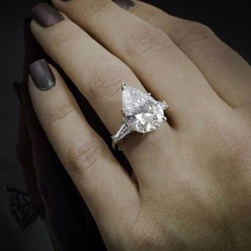 Cubic Zirconia Engagement Ring- Tapered Baguettes with Pear Cut Center Stone