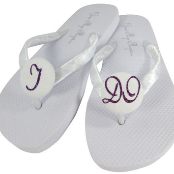 Purple Wedge Heel Bridal Flip Flops