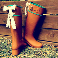 Tall Riding Tan Rain Boot with Lace Bows