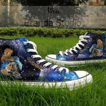CREYONB Galaxy shoes,Betty Boop Shoes,Studio Hand Painted Shoes 59.99Usd,Paint On Custom Conve