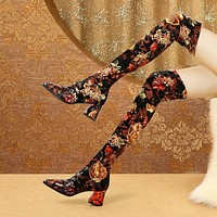 Women Printed Over The Knee Fashion Boots