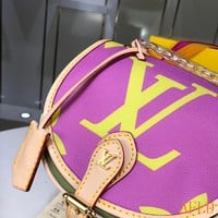 HCXX 19Aug 582 Louis Vuitton LV Monogram Canvas Chain Hard Shell Cluch Bag Leather Saddle Bag