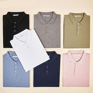 Solid Color Turn-down Collar Polo Shirt