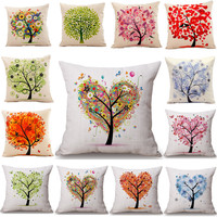 Seaso Lifor Tree cotton Lie Colorful ative Pillow Case r Square Waist Seat 45x45cm Pillow Cover Textile