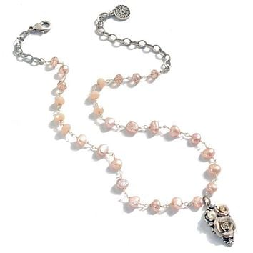 Natural Baroque Pearl & Flower Necklace