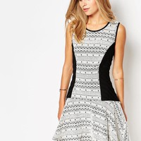 Printed Skater Dress with Contrast Panels