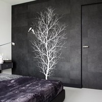 Ik15-wall Decal Sticker Room Decor Wall Art Mural Tree with Birds Winter Snow Tree in Frost Bedroom Living Room