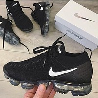 Nike Air VaporMax Flyknit2 Fashion Women Men Casual Air Cushion Sport Shoes Sneaker Black