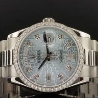 Rolex Day-Date Platinum President 36mm Ref 118346 Factory Diamond | Ice Blue 15'