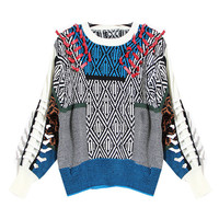 Women's Round Collar Long Sleeves Mix and Match Color with the Patch Look Sweater