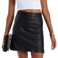 Black Coated Dolphin-Hem Mini Skirt by Charlotte Russe