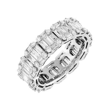 Diamond Baguette X Solid Band Ring 18K