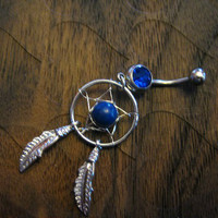 Stunning Sapphire Stone -- Dream Catcher Belly button Ring