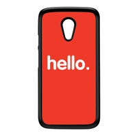 Hello Black Hard Plastic Case for Moto G2 by textGuy