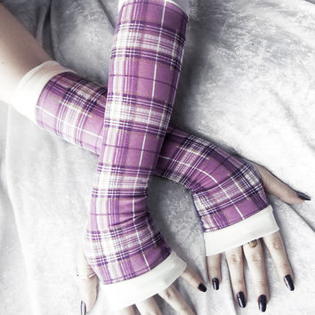 Twilight's Child Arm Warmers - Dusty Plum Lavender Purple Golden Taupe Ivory Plaid - Yoga Gothic Dark Tribal Goth Gypsy Cycling Hooping Emo