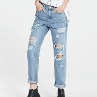 Bowie Distressed Mom Jeans - Pomelo