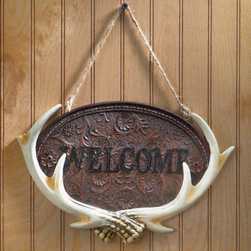 Woodland Deer Like Antler Welcome Sign Plaque Cabin Lodge Rustic Wall Home Decor