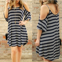 Black Striped Print Cold Shoulder Spaghetti Strap Shift Loose Mini Dress