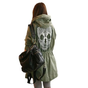Ninimour- Womens Punk Hooded Coat Trench Outerwear Jacket (Skull) (army green)