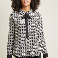 Enviable Occupation Button-Up Top in Skulls