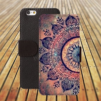 colorful mandala ball iphone 5/ 5s iphone 4/ 4s iPhone 6 6 Plus iphone 5C Wallet Case , iPhone 5 Case, Cover, Cases colorful pattern L014