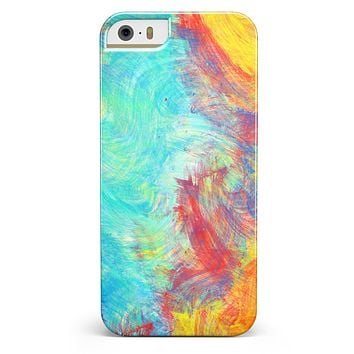 Vibrant Colored Messy Painted Canvas iPhone 5/5s or SE INK-Fuzed Case
