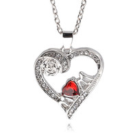 New Hot Ocean heart rose flower MOM red crystal pendant necklace fashion women necklace chocker fine jewelry mother gift