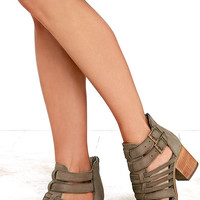 Steve Madden Frenchey Stone Leather Caged Ankle Booties